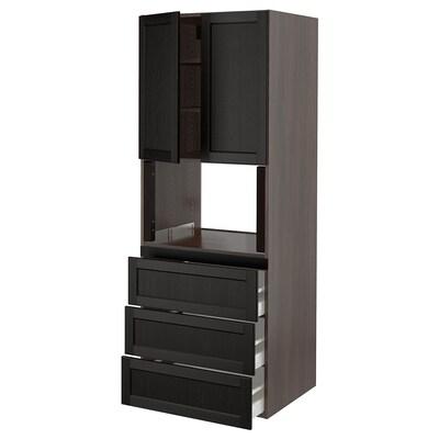"SEKTION Armoire haute m-o+3tir/2ptes, brun/Lerhyttan teinté noir, 30x24x80 """