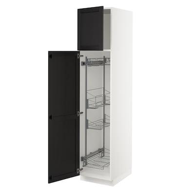 """SEKTION Armoire haute+rangement coulissant, blanc/Lerhyttan teinté noir, 18x24x80 """""""
