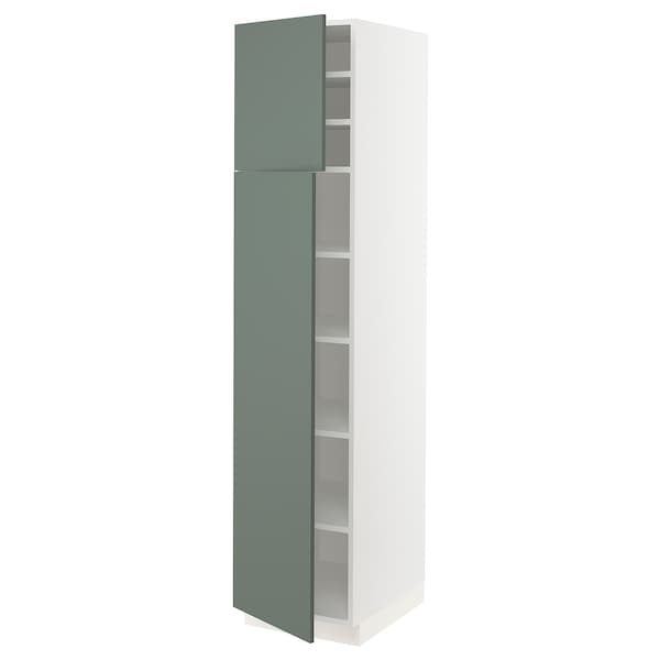 """SEKTION Armoire haute + tablette/2ptes, blanc/Bodarp gris-vert, 18x24x80 """""""