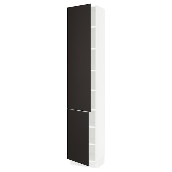 """SEKTION Armoire haute + tablette/2ptes, blanc/Kungsbacka anthracite, 18x15x90 """""""
