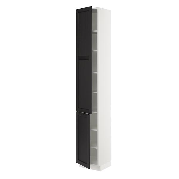 """SEKTION Armoire haute + tablette/2ptes, blanc/Lerhyttan teinté noir, 15x15x90 """""""