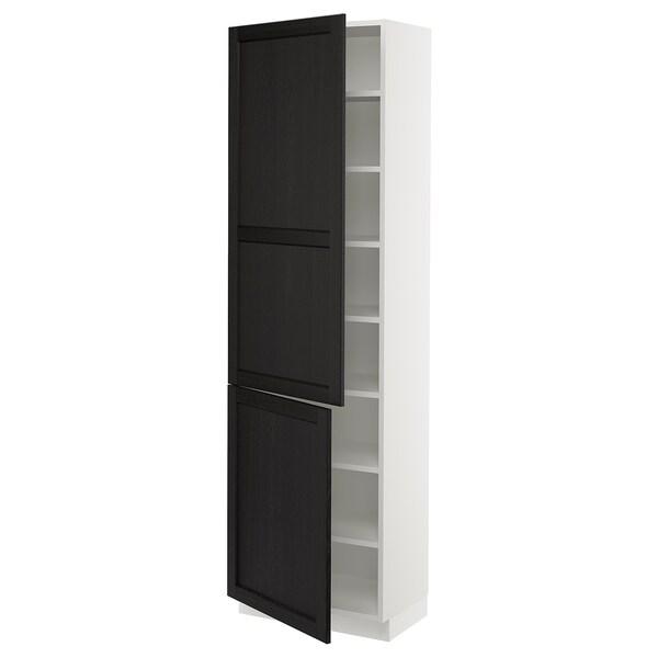 """SEKTION Armoire haute + tablette/2ptes, blanc/Lerhyttan teinté noir, 24x15x80 """""""