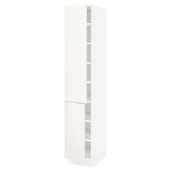 """SEKTION Armoire haute + tablette/2ptes, blanc/Veddinge blanc, 15x24x80 """""""
