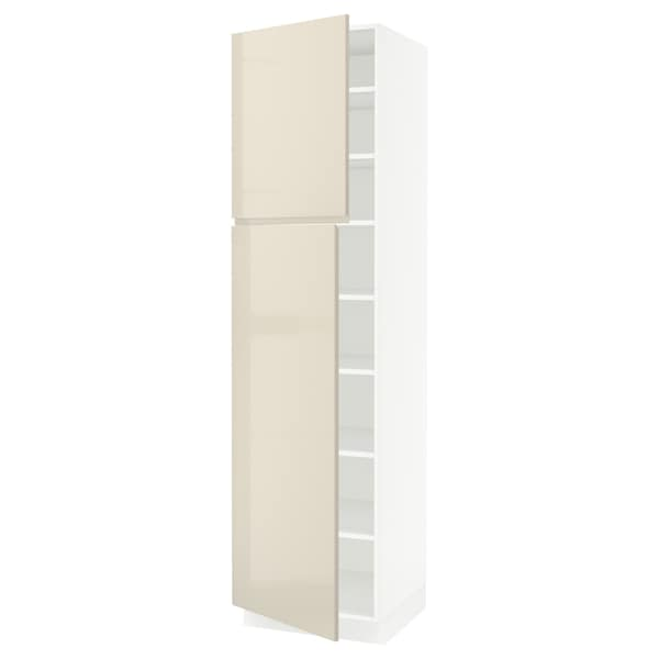 SEKTION Armoire haute + tablette/2ptes, blanc/Voxtorp beige clair ultrabrillant, 24x24x90 ""