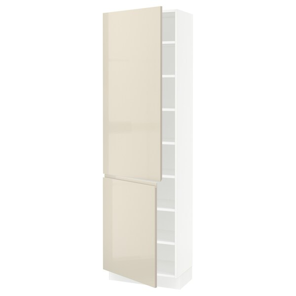 SEKTION Armoire haute + tablette/2ptes, blanc/Voxtorp beige clair ultrabrillant, 24x15x80 ""