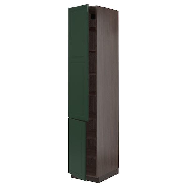 """SEKTION Armoire haute + tablette/2ptes, brun/Bodbyn vert foncé, 18x24x90 """""""