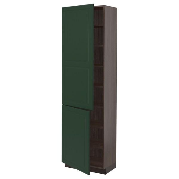 """SEKTION Armoire haute + tablette/2ptes, brun/Bodbyn vert foncé, 24x15x80 """""""