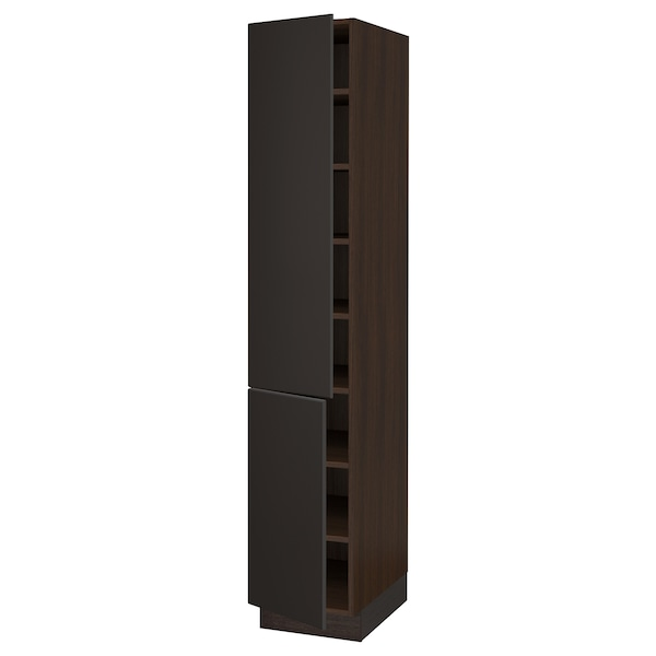 SEKTION Armoire haute + tablette/2ptes, brun/Kungsbacka anthracite, 15x24x80 ""
