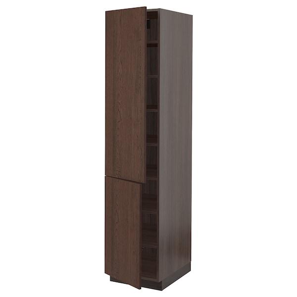 """SEKTION Armoire haute + tablette/2ptes, brun/Sinarp brun, 18x24x80 """""""