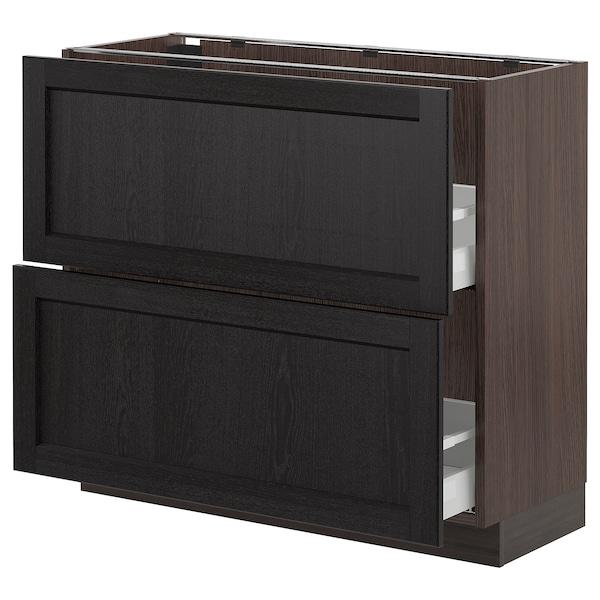 "SEKTION Armoire inf 2 tir, brun Maximera/Lerhyttan teinté noir, 36x15x30 """