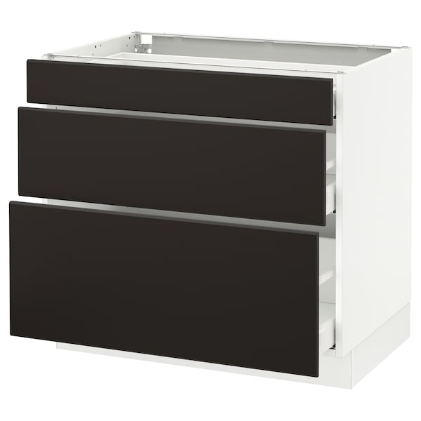 SEKTION Armoire inf 3 tir, blanc Maximera/Kungsbacka anthracite, 36x24x30 ""
