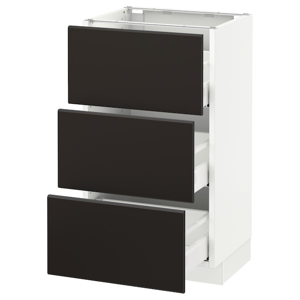SEKTION Armoire inf 3 tir, blanc Maximera/Kungsbacka anthracite, 18x15x30 ""