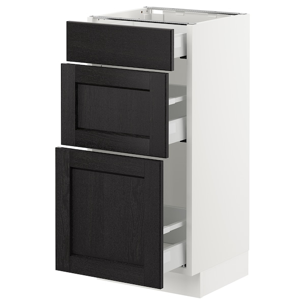 "SEKTION Armoire inf 3 tir, blanc Maximera/Lerhyttan teinté noir, 15x15x30 """