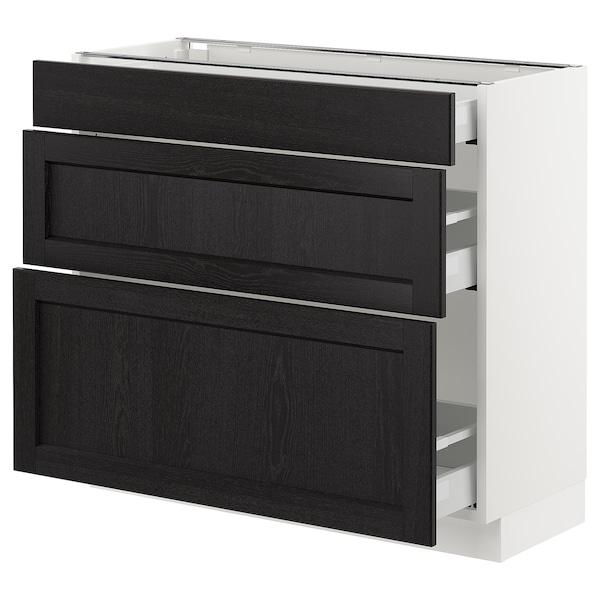 "SEKTION Armoire inf 3 tir, blanc Maximera/Lerhyttan teinté noir, 36x15x30 """