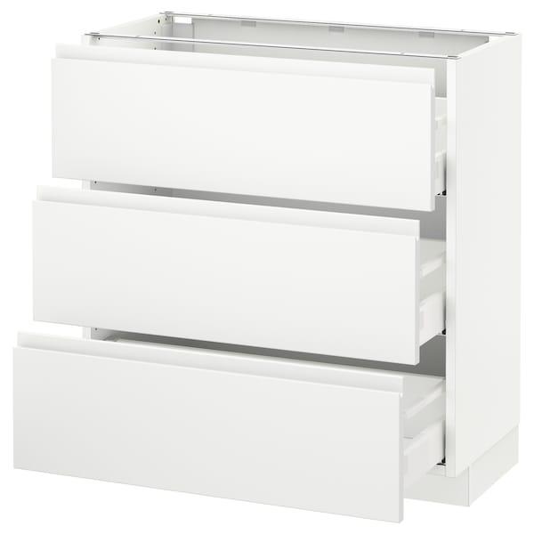 "SEKTION Armoire inf 3 tir, blanc Maximera/Voxtorp blanc mat, 30x15x30 """