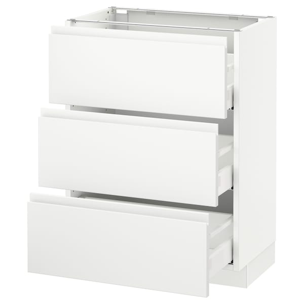 "SEKTION Armoire inf 3 tir, blanc Maximera/Voxtorp blanc mat, 24x15x30 """