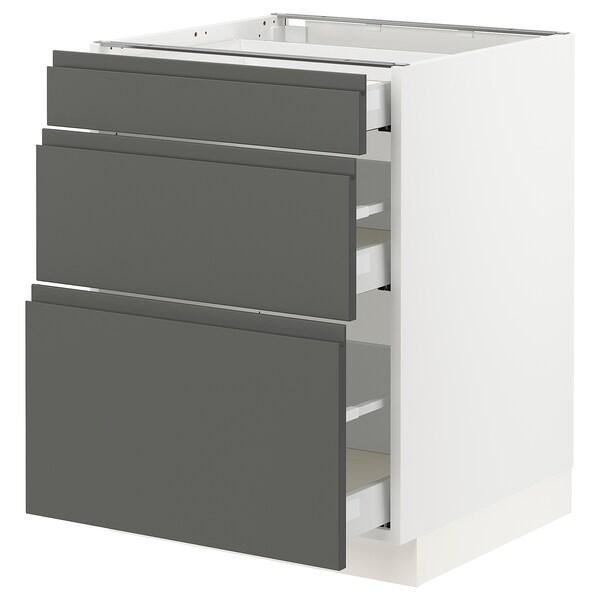 "SEKTION Armoire inf 3 tir, blanc Maximera/Voxtorp gris foncé, 24x24x30 """
