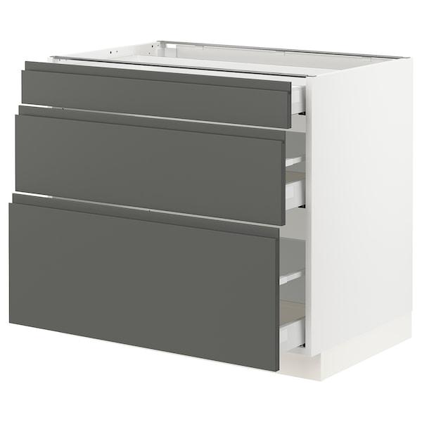 "SEKTION Armoire inf 3 tir, blanc Maximera/Voxtorp gris foncé, 36x24x30 """