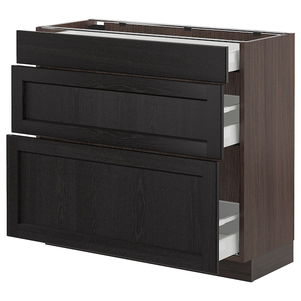 "SEKTION Armoire inf 3 tir, brun Maximera/Lerhyttan teinté noir, 36x15x30 """