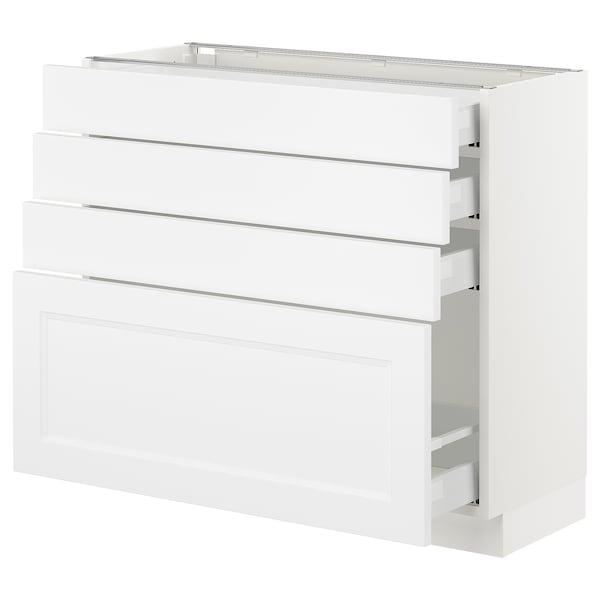 "SEKTION Armoire inf 4 tir, blanc Maximera/Axstad blanc mat, 36x15x30 """