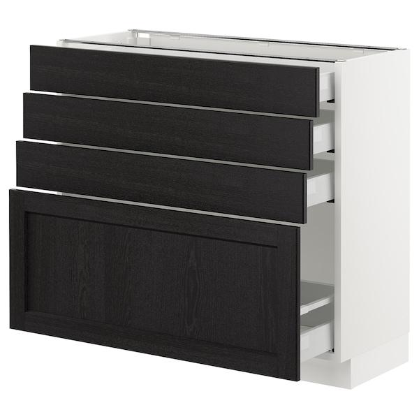 "SEKTION Armoire inf 4 tir, blanc Maximera/Lerhyttan teinté noir, 36x15x30 """