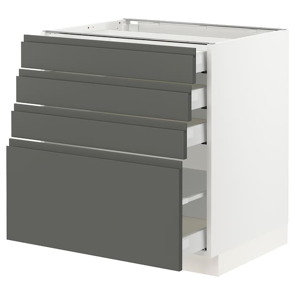 "SEKTION Armoire inf 4 tir, blanc Maximera/Voxtorp gris foncé, 30x24x30 """