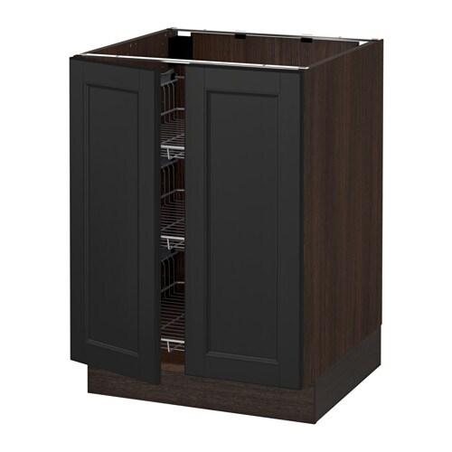 sektion armoire inf corb 2 ptes effet bois brun laxarby brun noir ikea. Black Bedroom Furniture Sets. Home Design Ideas