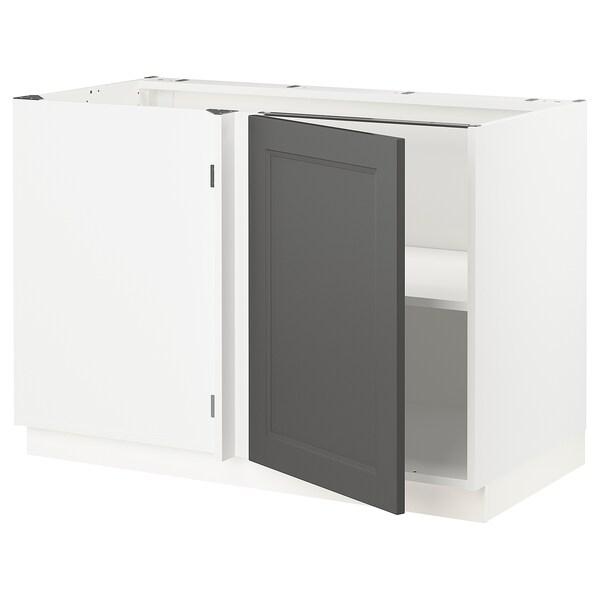 """SEKTION Armoire inf d'angle+tablette, blanc/Axstad gris foncé, 47x24x30 """""""