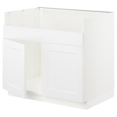 "SEKTION Armoire inf pr évier 2 bacs HAVSEN, blanc/Axstad blanc mat, 36x24x30 """