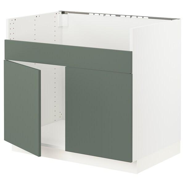 "SEKTION Armoire inf pr évier 2 bacs HAVSEN, blanc/Bodarp gris-vert, 36x24x30 """