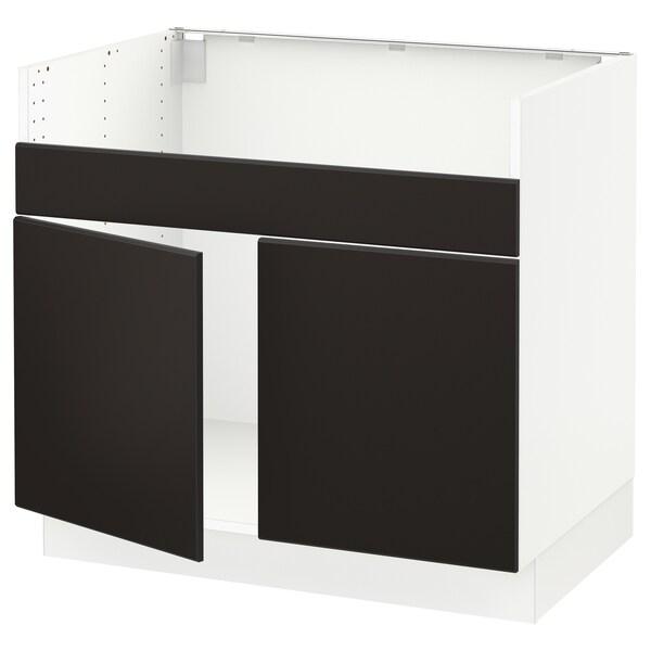 "SEKTION Armoire inf pr évier 2 bacs HAVSEN, blanc/Kungsbacka anthracite, 36x24x30 """