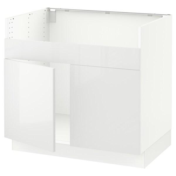 "SEKTION Armoire inf pr évier 2 bacs HAVSEN, blanc/Ringhult blanc, 36x24x30 """