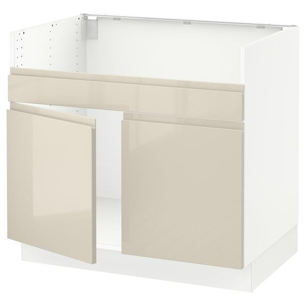 "SEKTION Armoire inf pr évier 2 bacs HAVSEN, blanc/Voxtorp beige clair ultrabrillant, 36x24x30 """