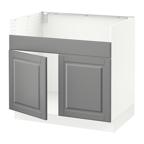 sektion armoire inf pr vier domsj 2bacs blanc bodbyn gris ikea. Black Bedroom Furniture Sets. Home Design Ideas
