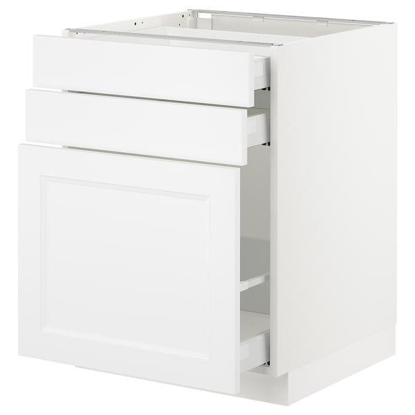SEKTION Armoire inf/rgt coulissant/2tiroirs, blanc Maximera/Axstad blanc mat, 24x24x30 ""