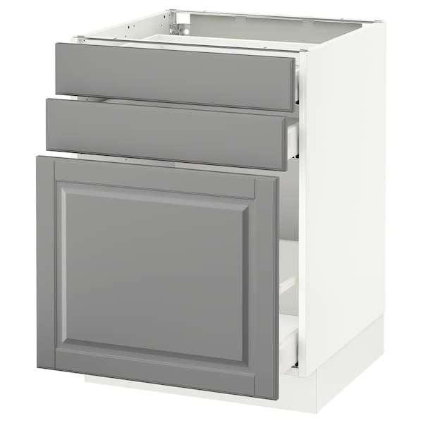 """SEKTION Armoire inf/rgt coulissant/2tiroirs, blanc Maximera/Bodbyn gris, 24x24x30 """""""