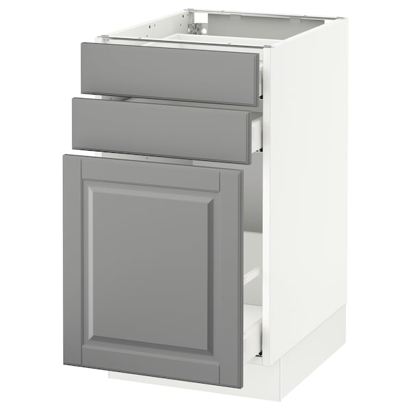 """SEKTION Armoire inf/rgt coulissant/2tiroirs, blanc Maximera/Bodbyn gris, 18x24x30 """""""