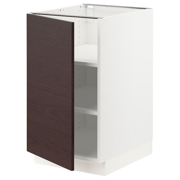 "SEKTION Armoire inf+tabl, blanc Askersund/brun foncé effet frêne, 18x24x30 """