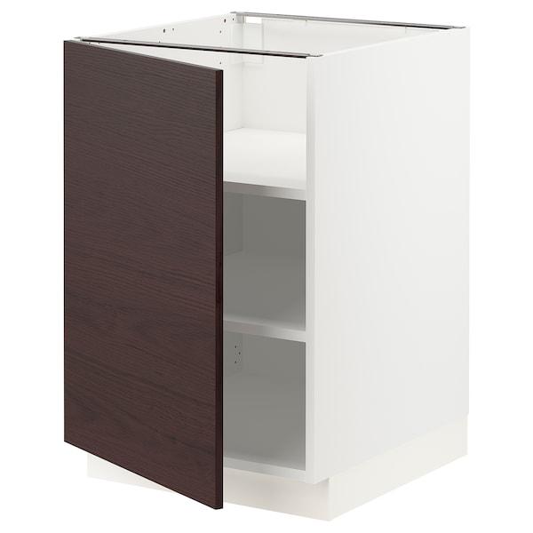 "SEKTION Armoire inf+tabl, blanc Askersund/brun foncé effet frêne, 21x24x30 """
