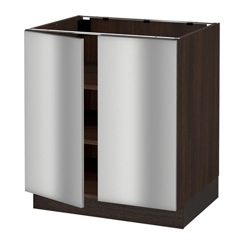 Sektion armoire inf tabl 2ptes effet bois brun grevsta for Armoire inox cuisine