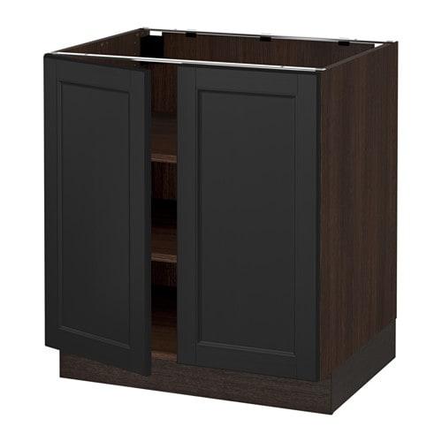 Sektion armoire inf tabl 2ptes effet bois brun laxarby for Caisson armoire de cuisine