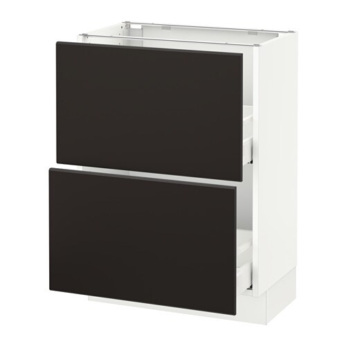 Sektion armoire inf 2 tir blanc kungsbacka anthracite for Cuisine kungsbacka ikea