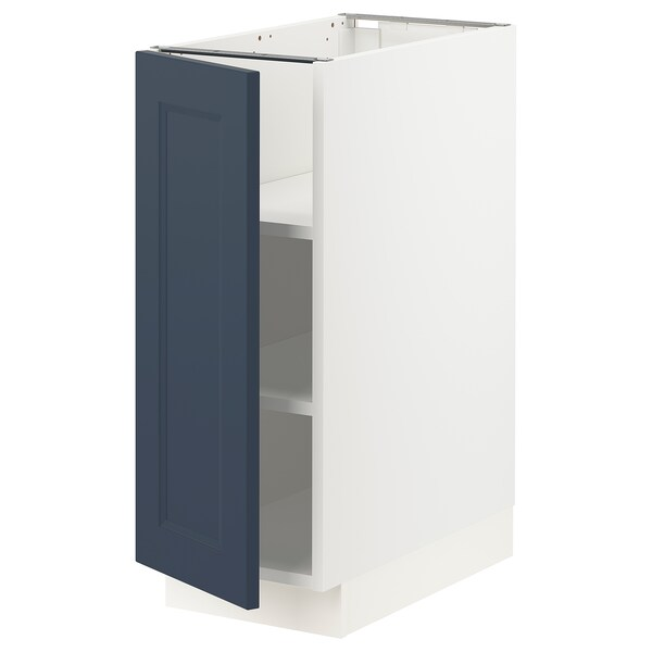 "SEKTION Armoire inférieure avec tablettes, blanc Axstad/mat bleu, 12x24x30 """