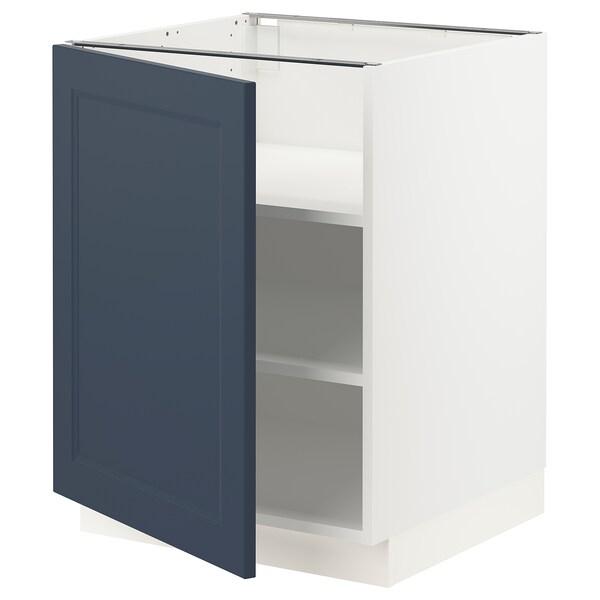 "SEKTION Armoire inférieure avec tablettes, blanc Axstad/mat bleu, 24x24x30 """