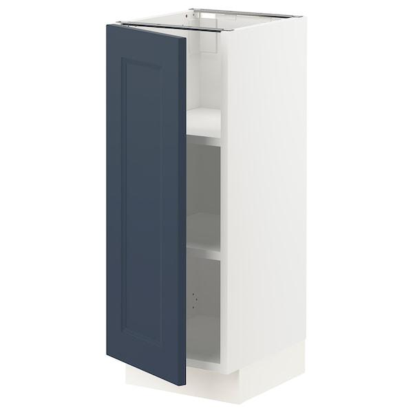 "SEKTION Armoire inférieure avec tablettes, blanc Axstad/mat bleu, 12x15x30 """