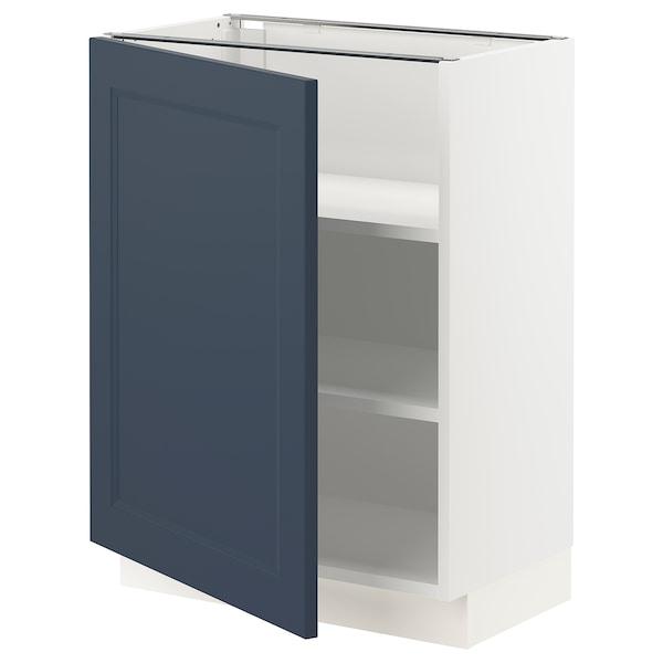 "SEKTION Armoire inférieure avec tablettes, blanc Axstad/mat bleu, 24x15x30 """