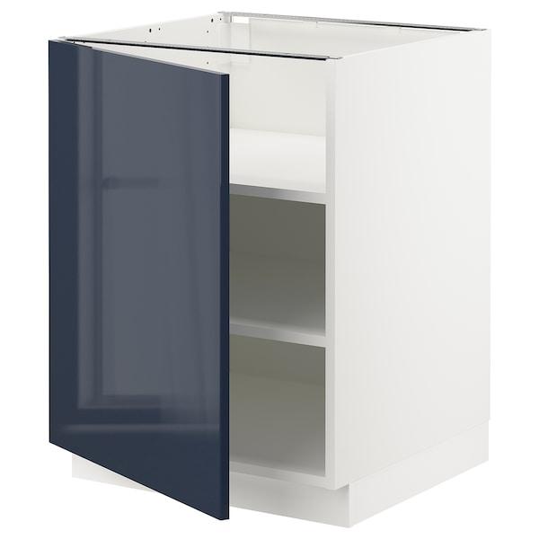 "SEKTION Armoire inférieure avec tablettes, blanc/Järsta bleu-noir, 24x24x30 """