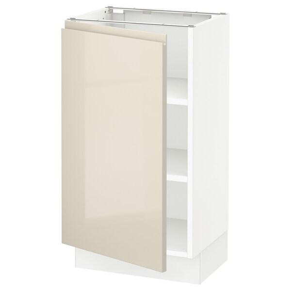 """SEKTION Armoire inférieure avec tablettes, blanc/Voxtorp beige clair ultrabrillant, 18x15x30 """""""