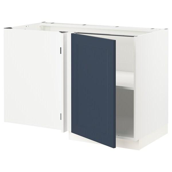 """SEKTION Armoire inférieure d'angle+tablette, blanc Axstad/mat bleu, 47x24x30 """""""