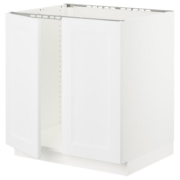 """SEKTION Armoire inférieure évier 2 ptes, blanc/Axstad blanc mat, 30x24x30 """""""